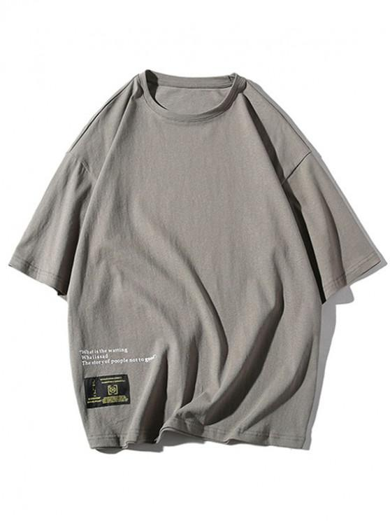 trendy Applique Letters Print Casual Tee - GRAY L