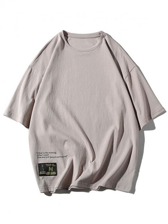 T-shirt Décontracté Lettre Applique Imprimée - Gris Foncé 2XL