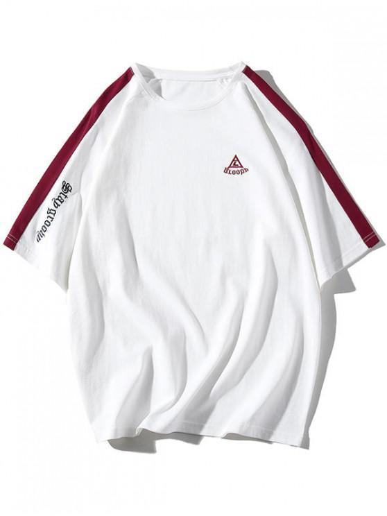 T-shirt Panneau avec Lettre à Manches Raglan - Blanc 3XL