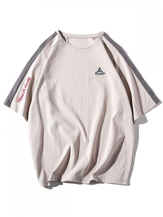 fashion Raglan Sleeves Letters Panel T-shirt - LIGHT KHAKI 3XL