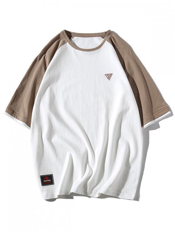 T-shirt Panneau Applique à Manches Raglan - Blanc XL