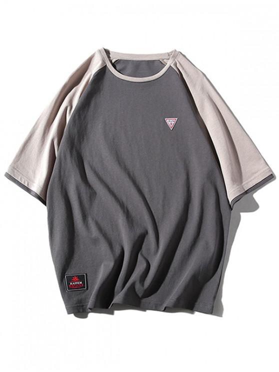 unique Applique Raglan Sleeves Panel T-shirt - ASH GRAY L