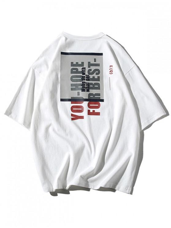 lady Geometric Graphic Letters Print T-shirt - WHITE 3XL
