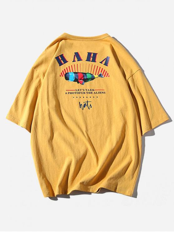 Camiseta Casual de Rayas con Estampado Gráfico de Letras - Marrón Dorado 3XL