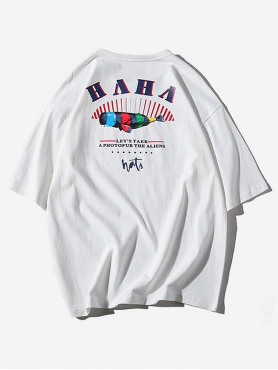 T-shirt Décontracté Graphique Rayé Lettre Imprimée - Blanc 2XL