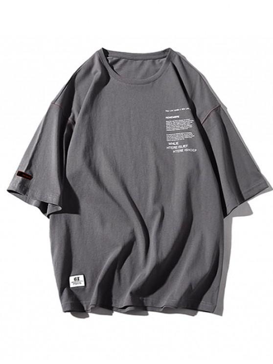 Rundhalsausschnitt -LeBuchstabedruck- Applikationen- T-Shirt - Kohle Grau 3XL