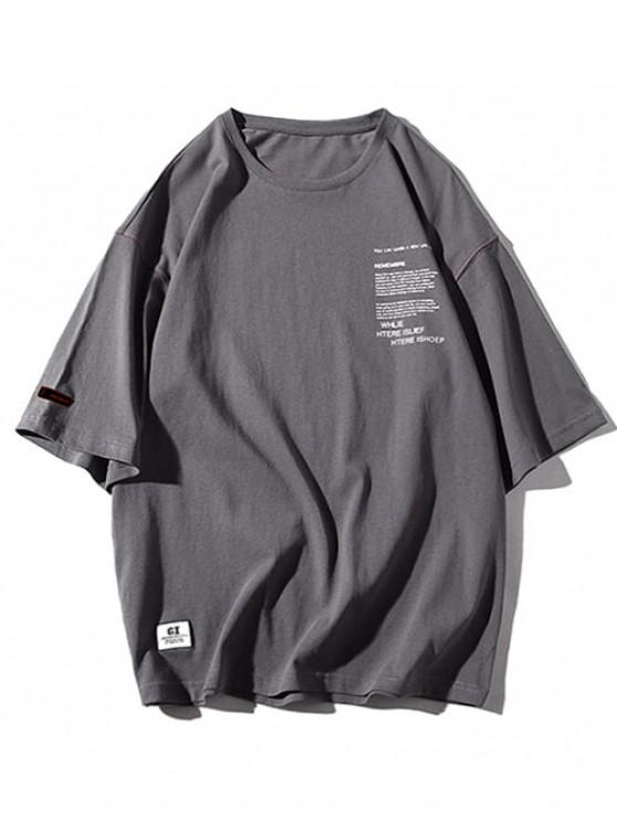 unique Round Neck Letters Print Applique Tee - CARBON GRAY M