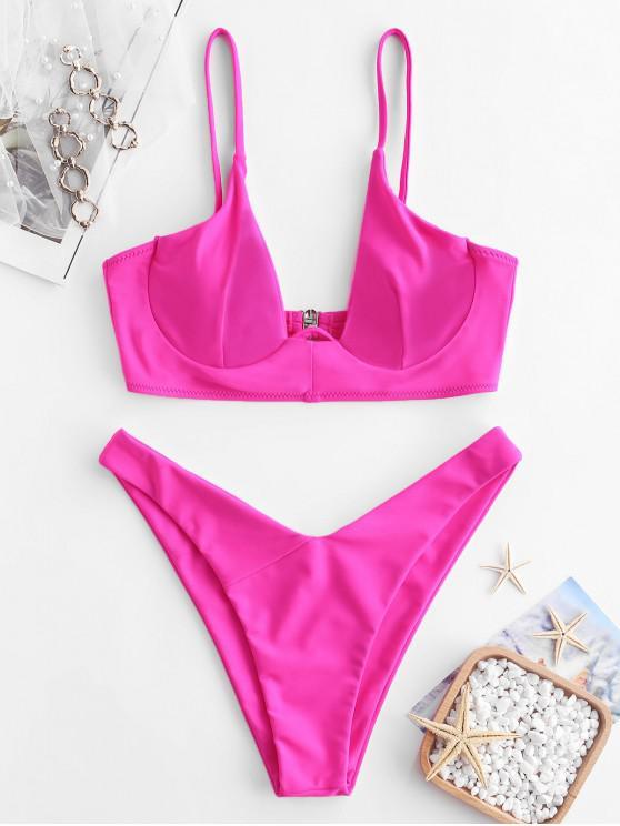 91b06ae45cd7 Bikini de neón con aros ZAFUL
