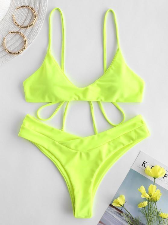 women's ZAFUL Slip High Leg Bikini Set - GREEN YELLOW L