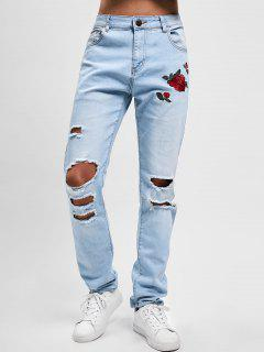 Flowers Embroidery Washed Hole Jeans - Jeans Blue 34