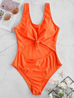 ZAFUL Neon Cut Out Knotted Backless Swimsuit - Orange Xl