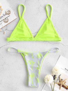 ZAFUL Coconut Tree Bralette Thong Bikini Set - Green Yellow L