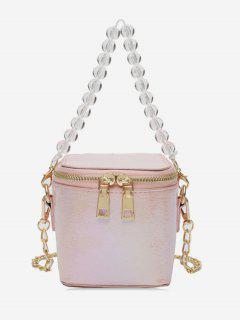 Beads Strap Square Shoulder Bag - Pink