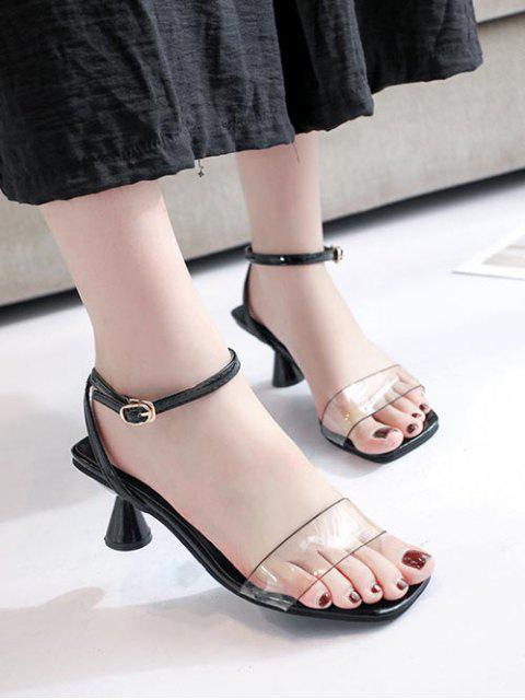 chic Clear Strap Strange Heel Sandals - BLACK EU 36 Mobile