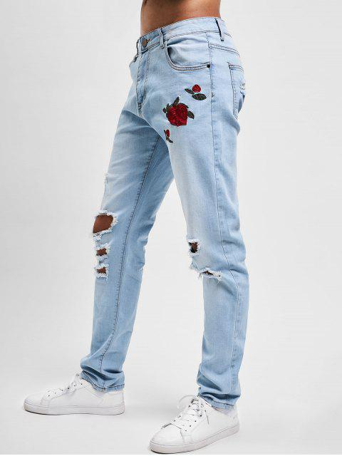 lady Flowers Embroidery Washed Hole Jeans - JEANS BLUE 30 Mobile
