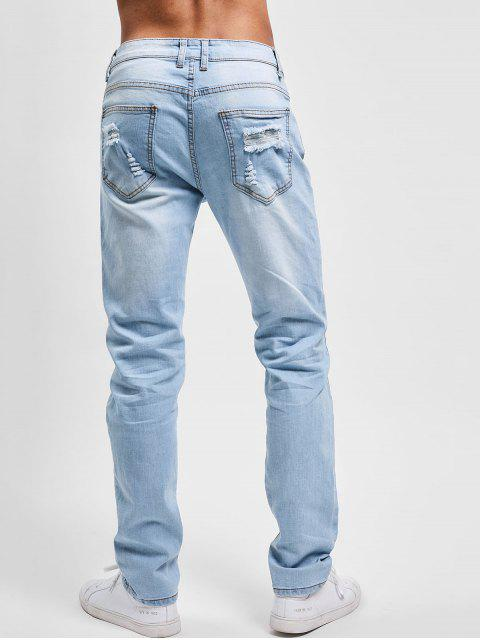 best Flowers Embroidery Washed Hole Jeans - JEANS BLUE 32 Mobile