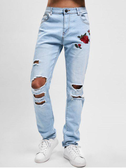 hot Flowers Embroidery Washed Hole Jeans - JEANS BLUE 38 Mobile