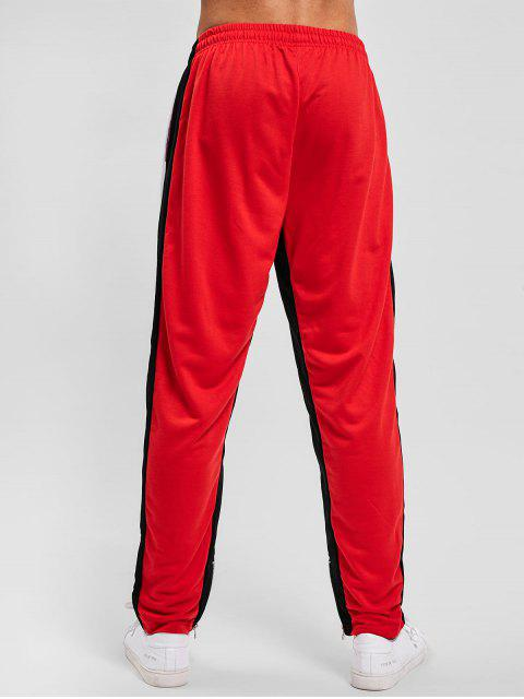 womens Color Block Hem Zipper Track Pants - WHITE S Mobile
