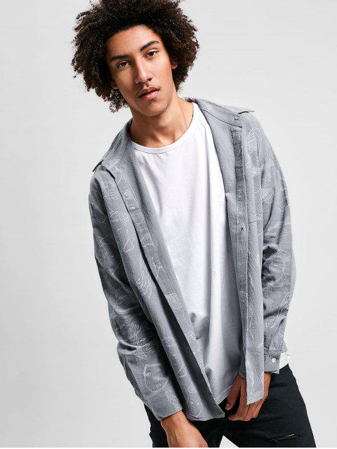 chic Graphic Print Long Sleeves Shirt - BATTLESHIP GRAY 3XL Mobile