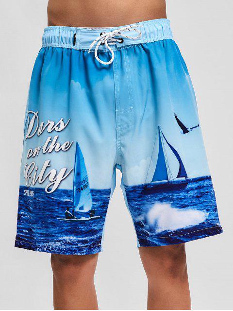 Pantalones cortos de tablero casual con estampado marino de Sea Scenery - Azul Claro S Mobile