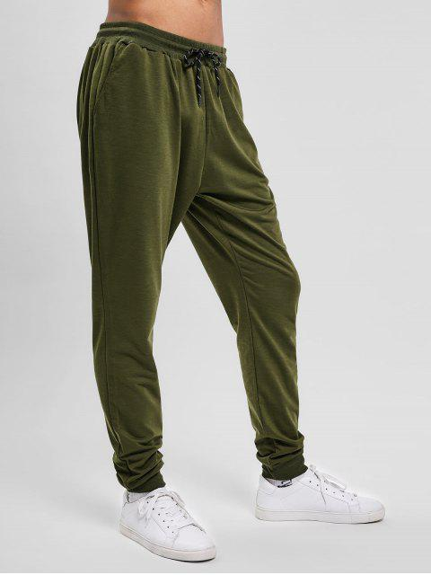shop Solid Side Pockets Sports Jogger Pants - ARMY GREEN S Mobile