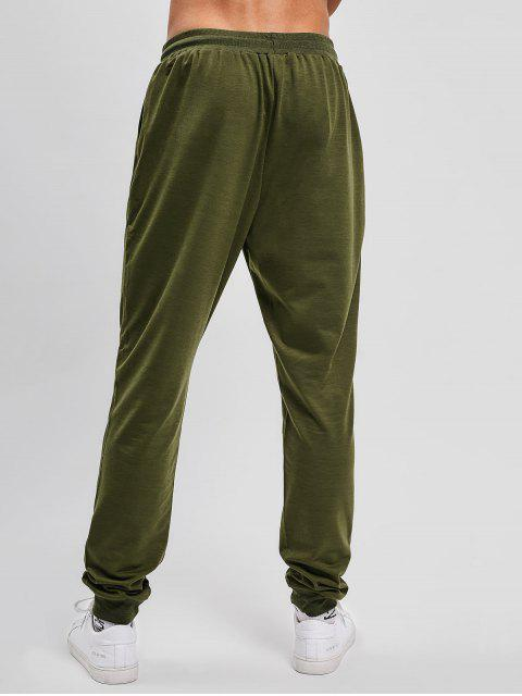 latest Solid Side Pockets Sports Jogger Pants - ARMY GREEN L Mobile