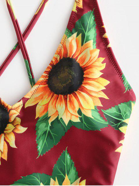 shop ZAFUL Sunflower Print Crisscross One-Piece Swimsuit - RED WINE M Mobile