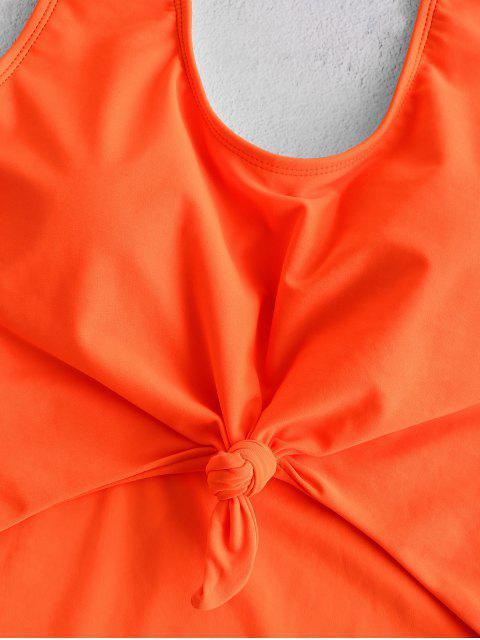 ZAFUL С вырезом С бантом Открытая спина Неоновый Купальник - Оранжевый L Mobile