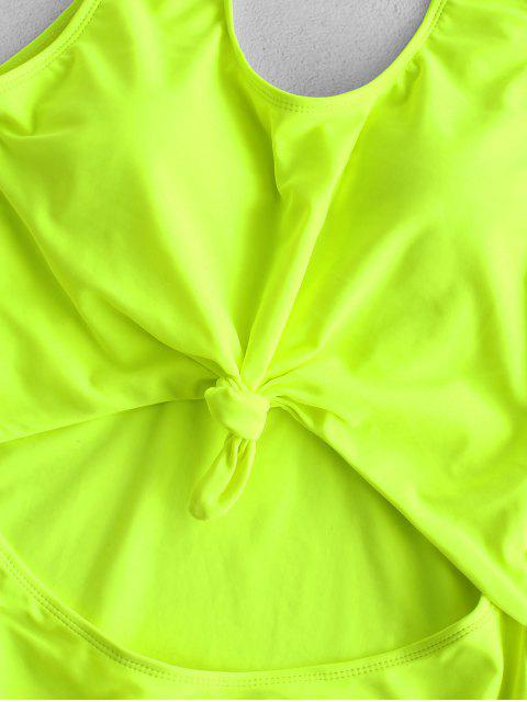 hot ZAFUL Neon Cut Out Knotted Backless Swimsuit - GREEN YELLOW L Mobile