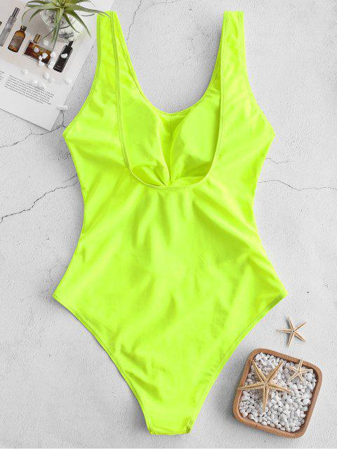 fancy ZAFUL Neon Cut Out Knotted Backless Swimsuit - GREEN YELLOW 2XL Mobile