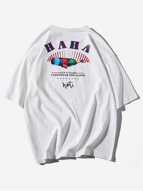 Camiseta Casual Rayas Estampado Rayas - Blanco L Mobile