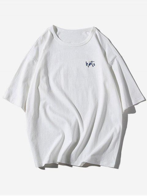 字母條紋圖案印花休閒T卹 - 白色 XL Mobile