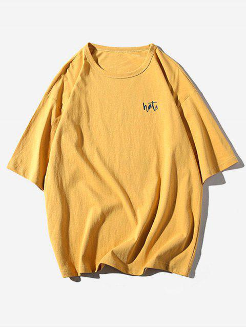 字母條紋圖案印花休閒T卹 - 金黃色 XL Mobile