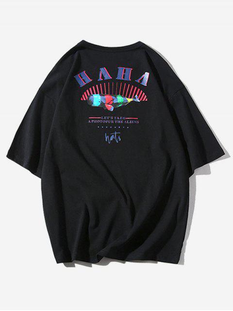 Camiseta Casual Rayas Estampado Rayas - Negro M Mobile