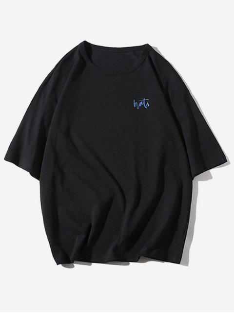 字母條紋圖案印花休閒T卹 - 黑色 M Mobile