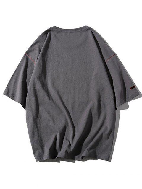 womens Round Neck Letters Print Applique Tee - CARBON GRAY 3XL Mobile