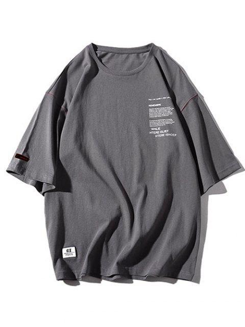 Cuello redondo letras imprimir apliques camiseta - Gris Carbón 2XL Mobile