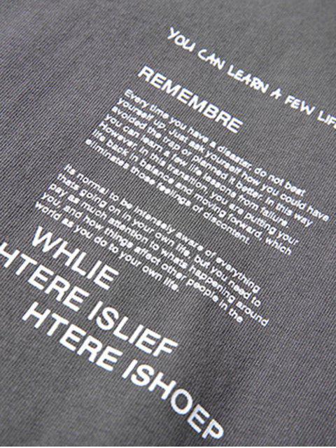 Cuello redondo letras imprimir apliques camiseta - Gris Carbón XL Mobile