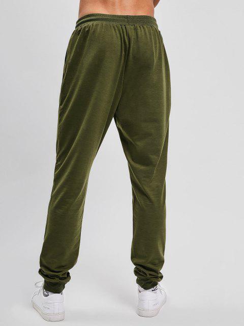 Einfarbige Seitliche Taschen Sport Joggerhose - Armeegrün S Mobile