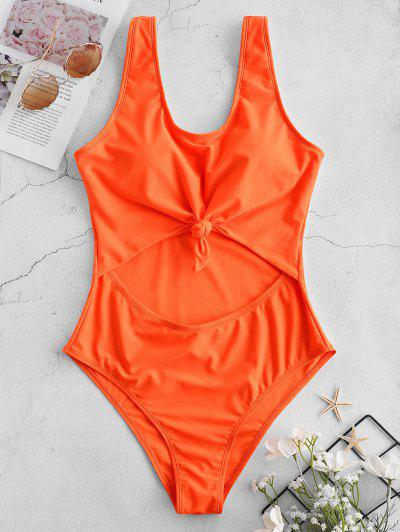 045c2f9b1c ZAFUL Neon Cut Out Knotted Backless Swimsuit - Orange Xl ...