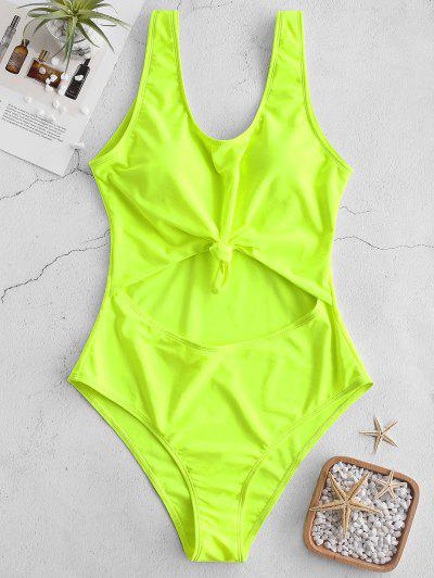 198abcc9093 ZAFUL Neon Cut Out Knotted Backless Swimsuit - Green Yellow M ...