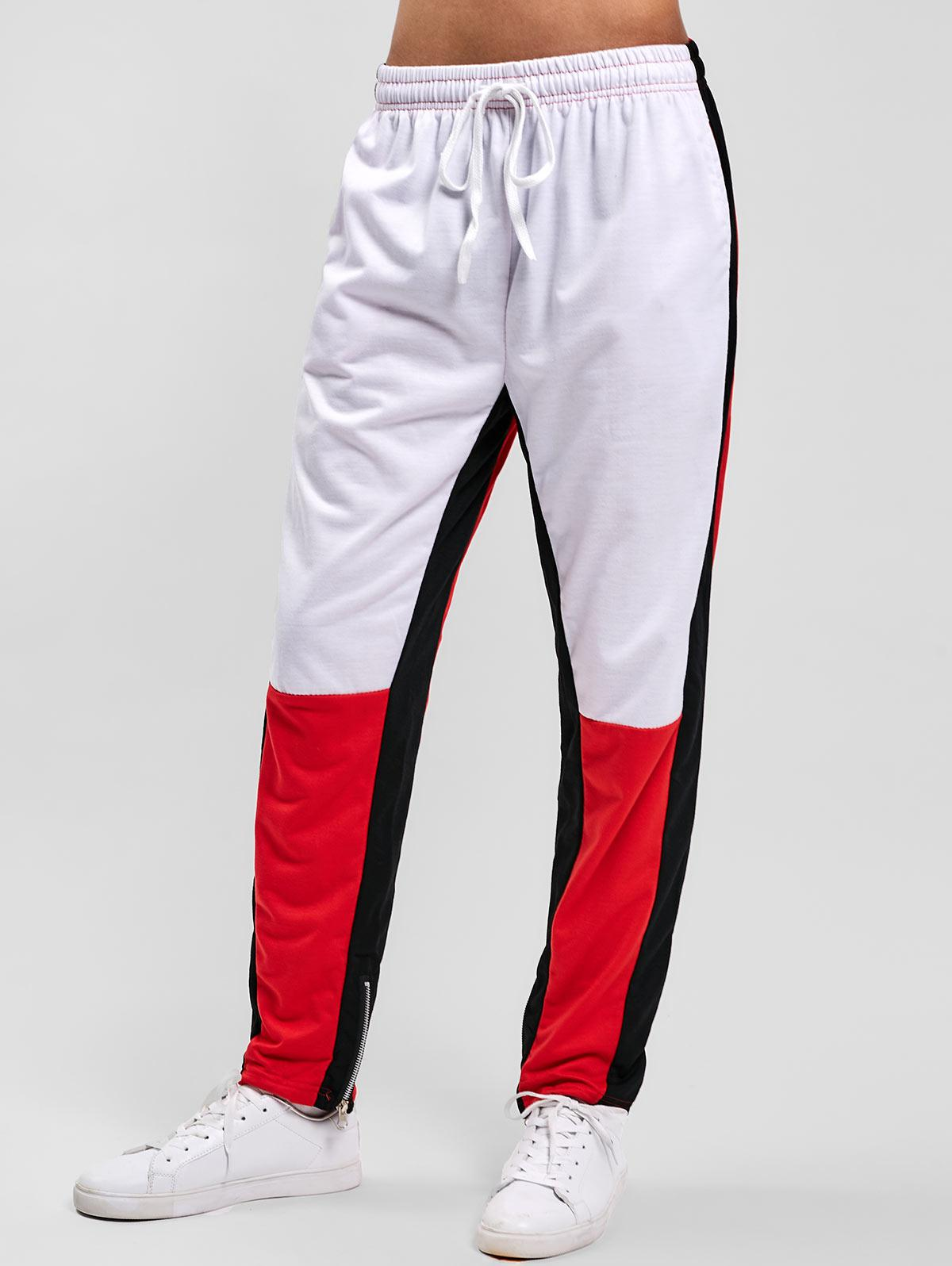 Color Block Hem Zipper Track Pants, White
