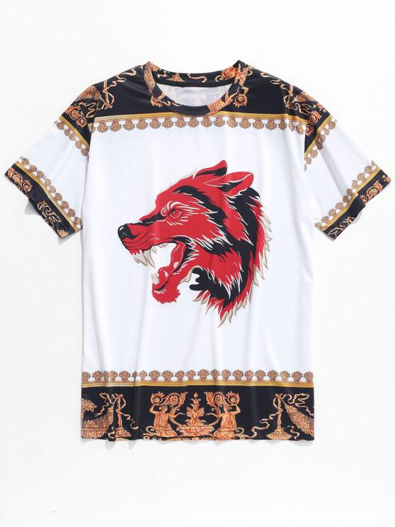 hot Wolf Flowers Ethnic Print Casual T-shirt - WHITE S