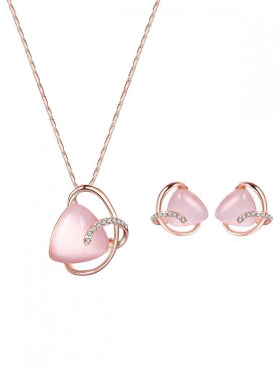 lady Faux Opal Geometric Necklace Earrings Set - GOLD