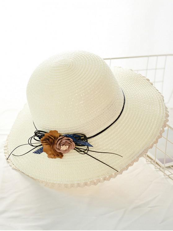 new Flower Lace Beach Straw Hat - WHITE