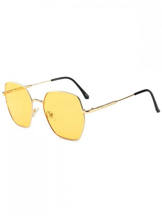 shop Anti UV Metal Irregular Sunglasses - YELLOW