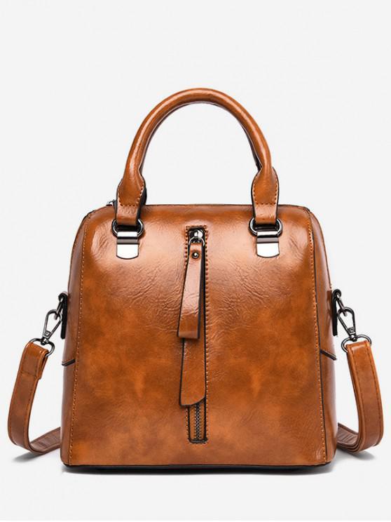 chic Solid Color Waterproof Tote Bag - BROWN
