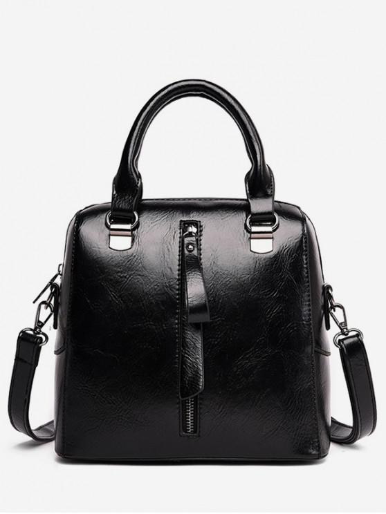 fancy Solid Color Waterproof Tote Bag - BLACK