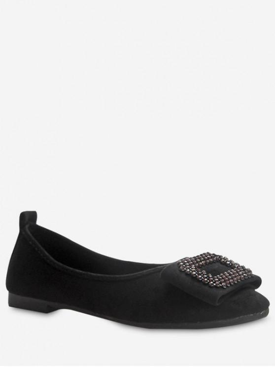 ladies Leisure Suede Flat Bottom Shoes - BLACK EU 36