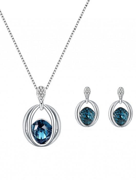 hot Rhinestone Decoration Faux Crystal Jewelry Set - SILVER